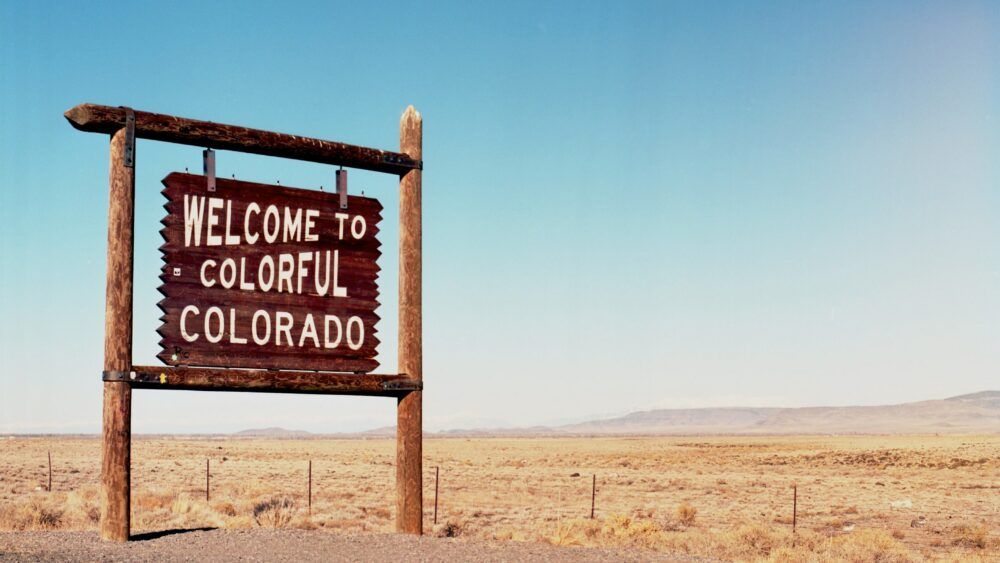 Welcome to Colorful Colorado sign - the Irish were certainly welcomed in the 19th century